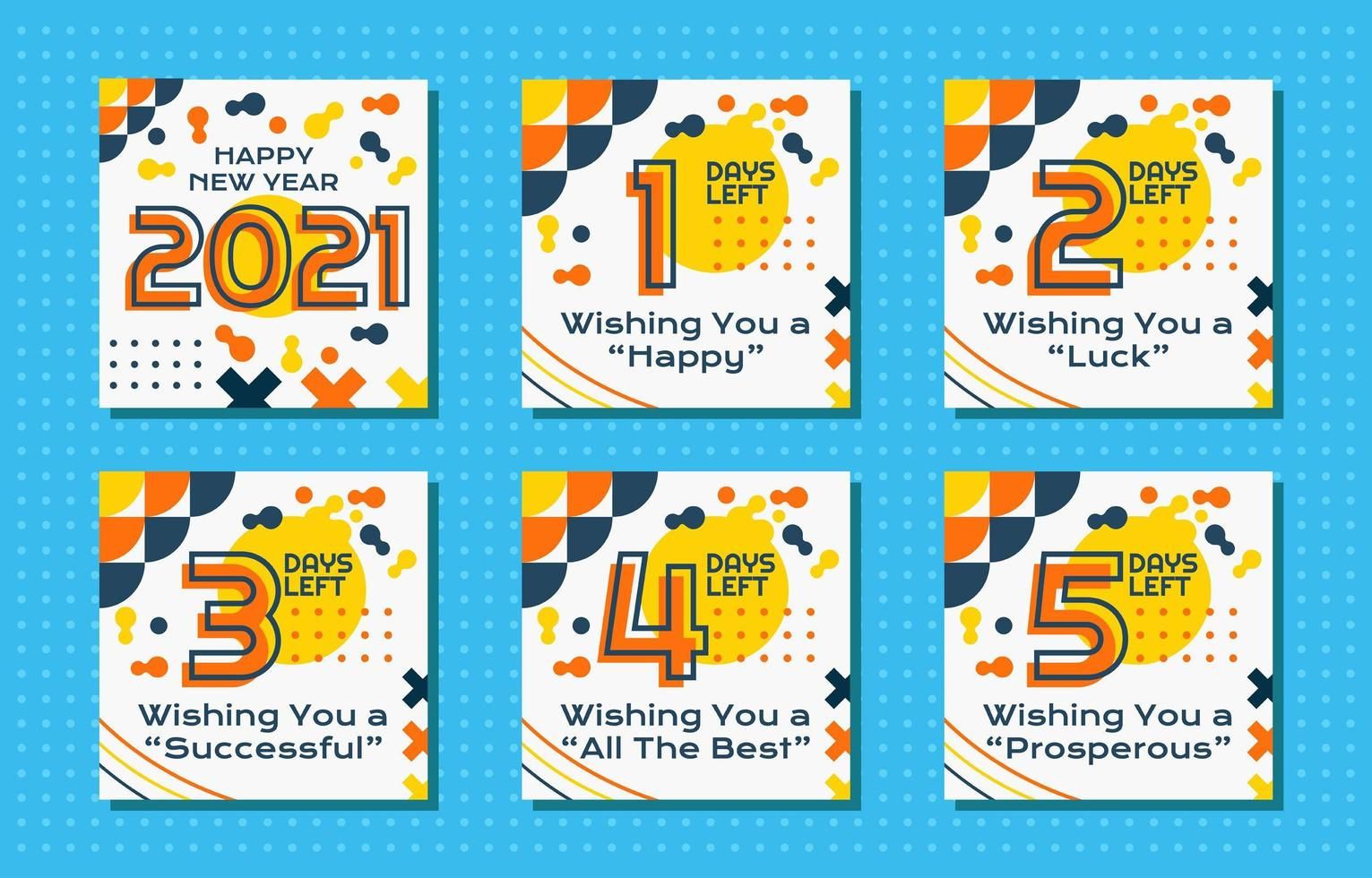 Countdown Post New Year with Geometric vector