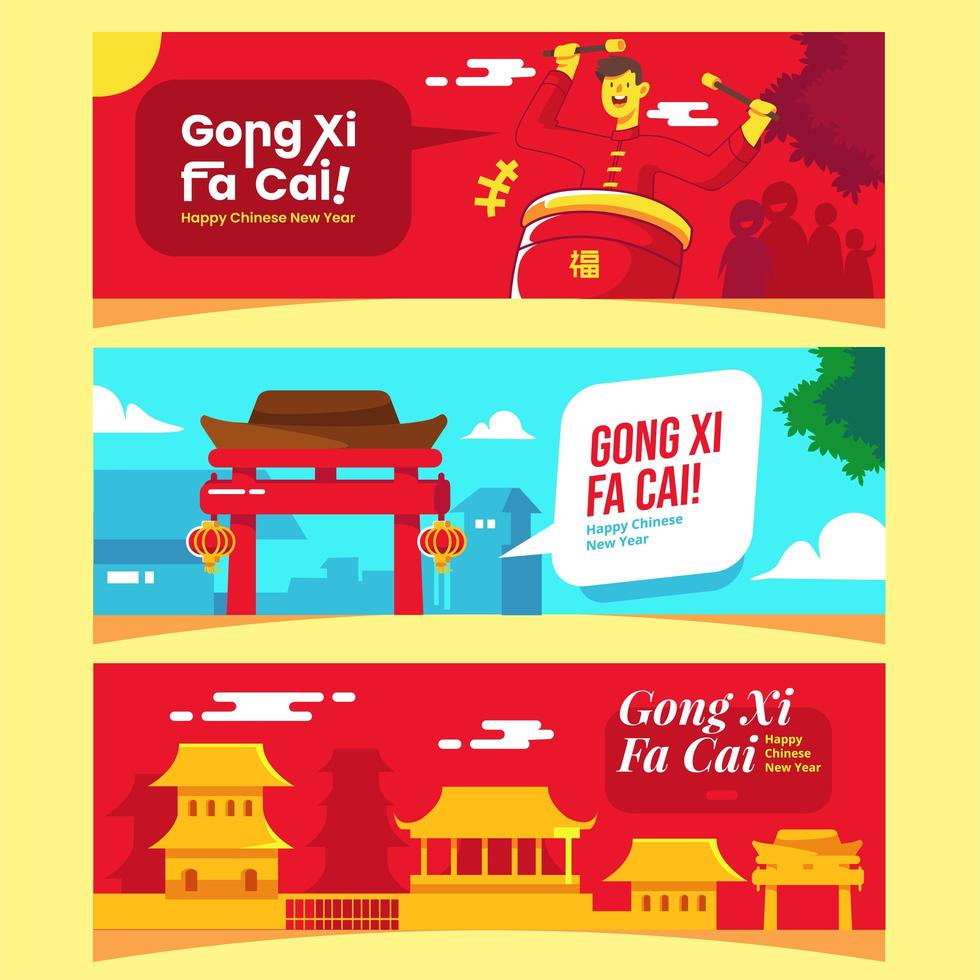 Lunar Chinese Gong Xi Fa Cai Concept Banner vector