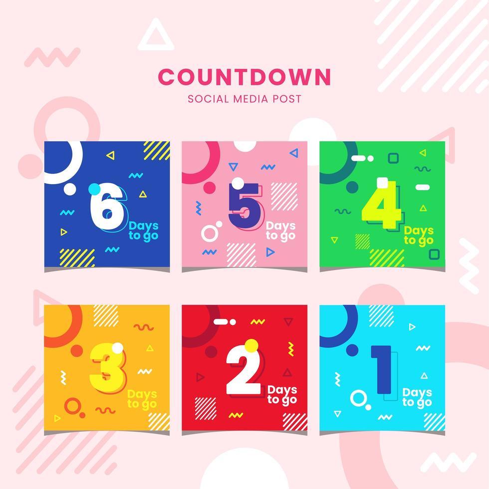 Set of Flat Geometric Vibrant Color Countdown Social Media Post vector