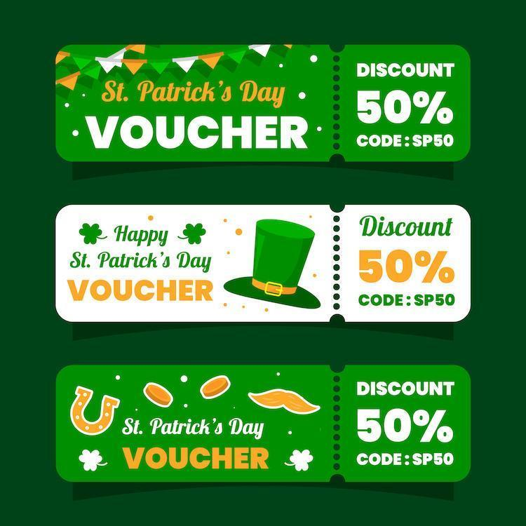 St. Patrick's Day Voucher Marketing Collection vector