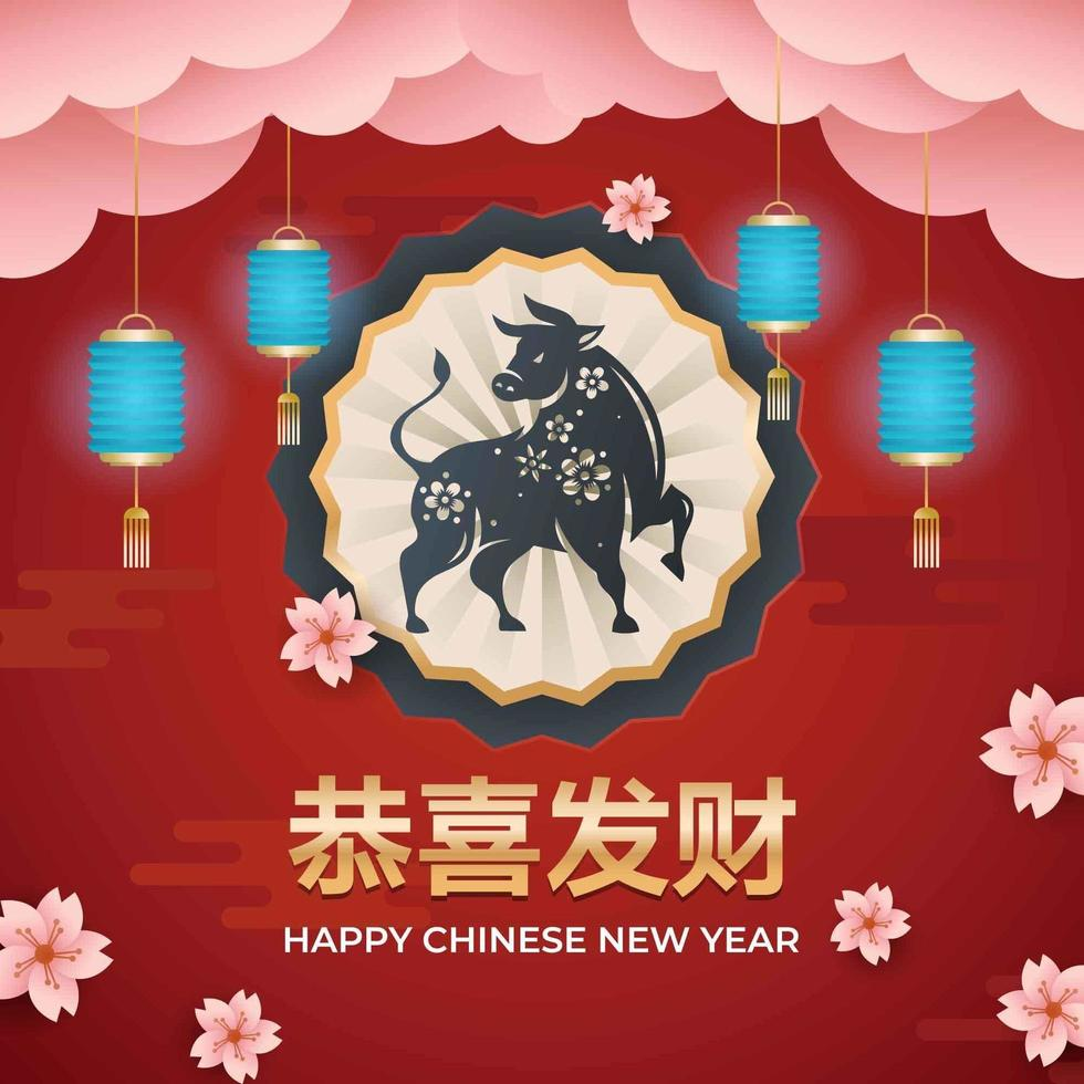 Chinese New Year Ox Zodiac Sign vector
