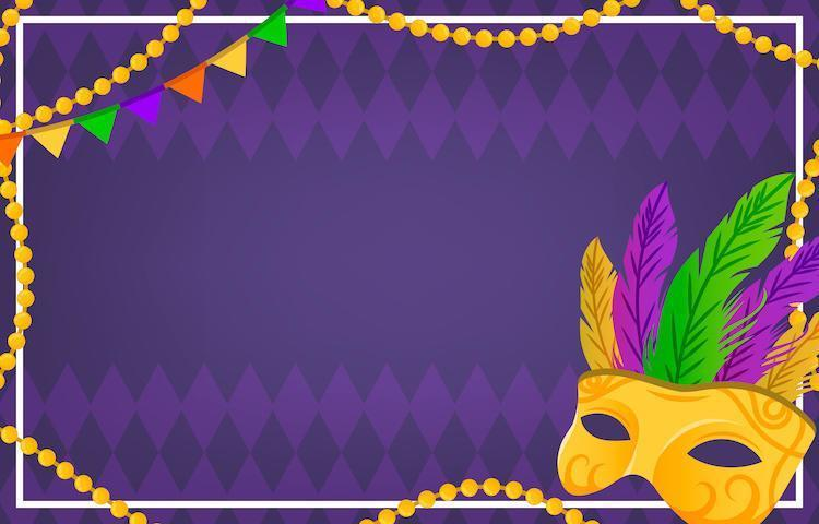 Colorful Mardi Gras Mask and Beads Background vector
