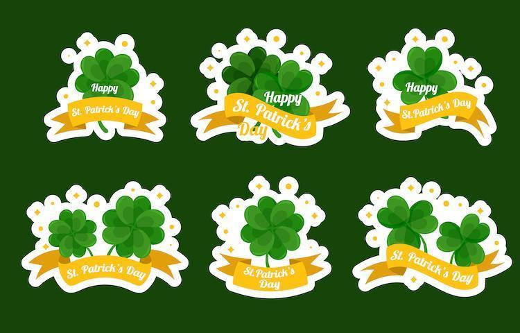 Cute St. Patrick's Day Clover Sticker Collection vector