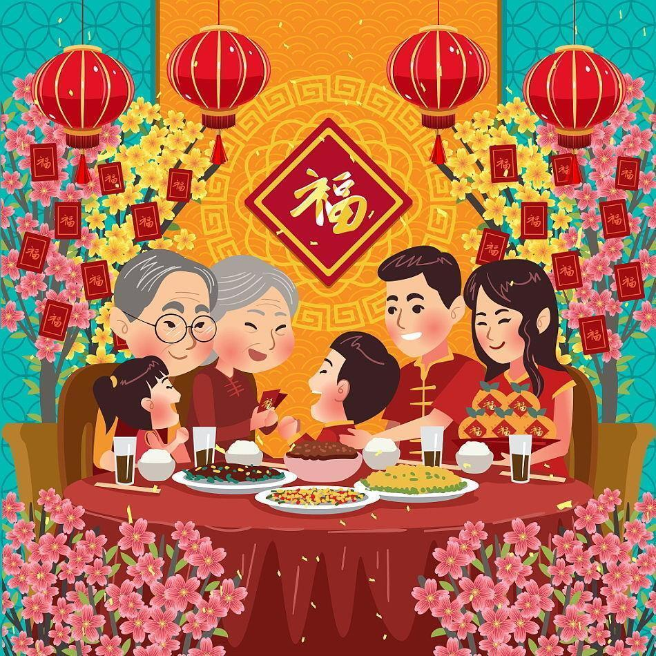 Chinese New Year Family Reunion Dinner Concept vector