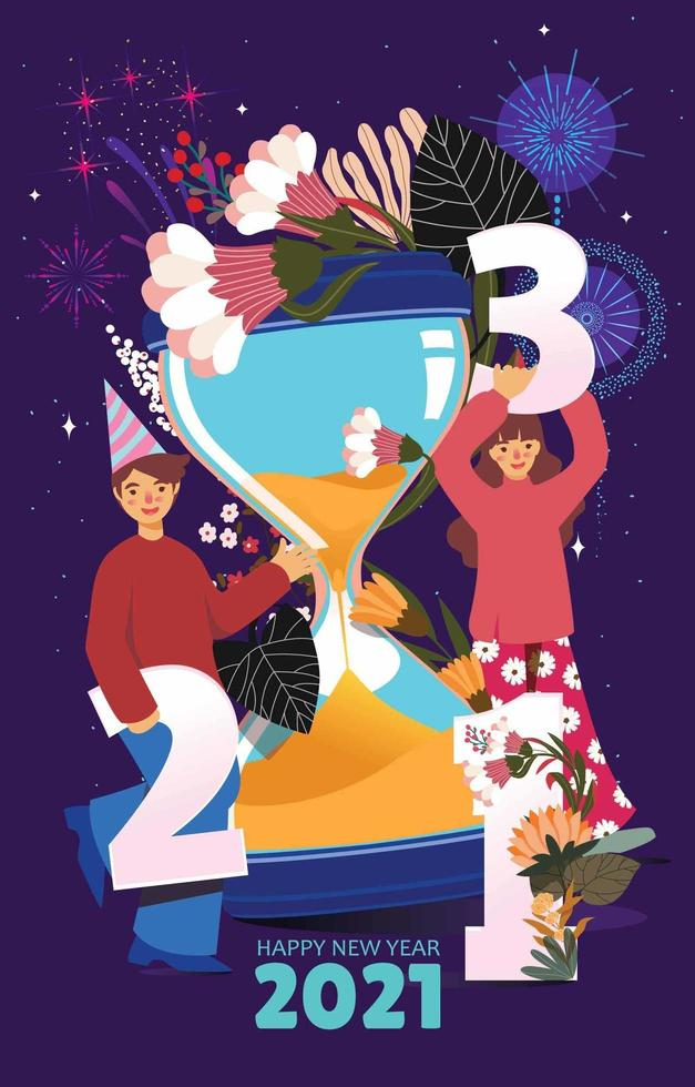 Countdown Timer New Year with Sandglass vector