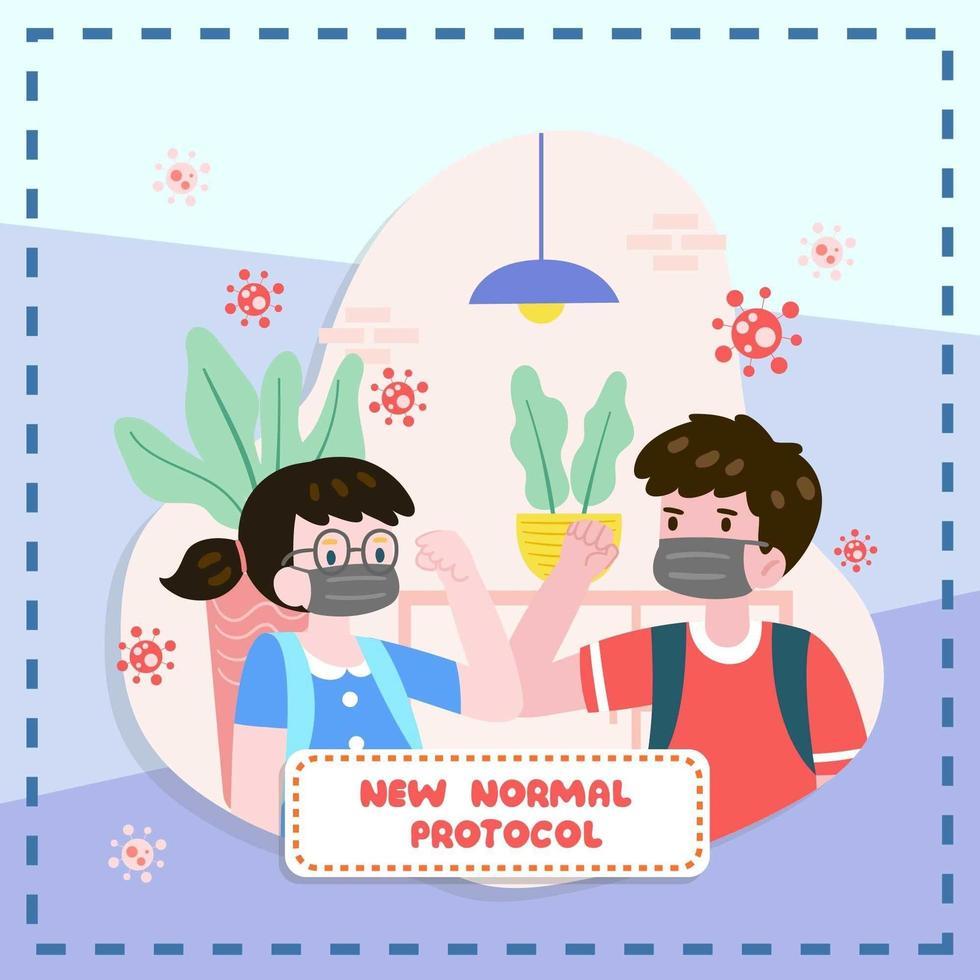 Boy And Girl Doing New Normal Protocol vector