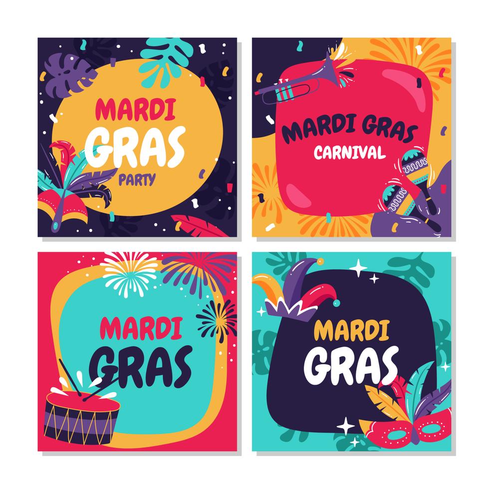 Mardi Gras Card Collection vector
