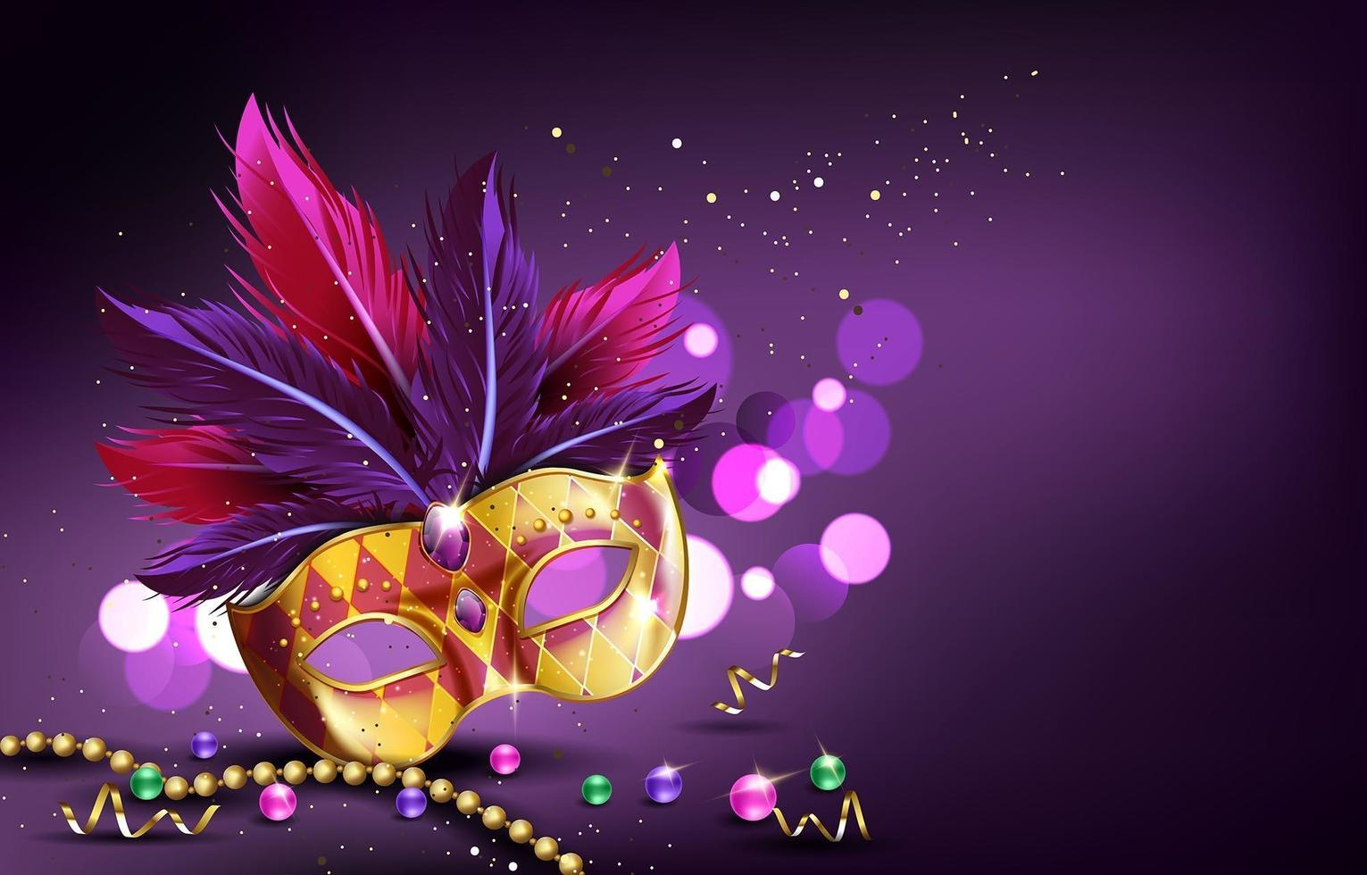 Mardi Gras Carnival Mask and Beads Background vector