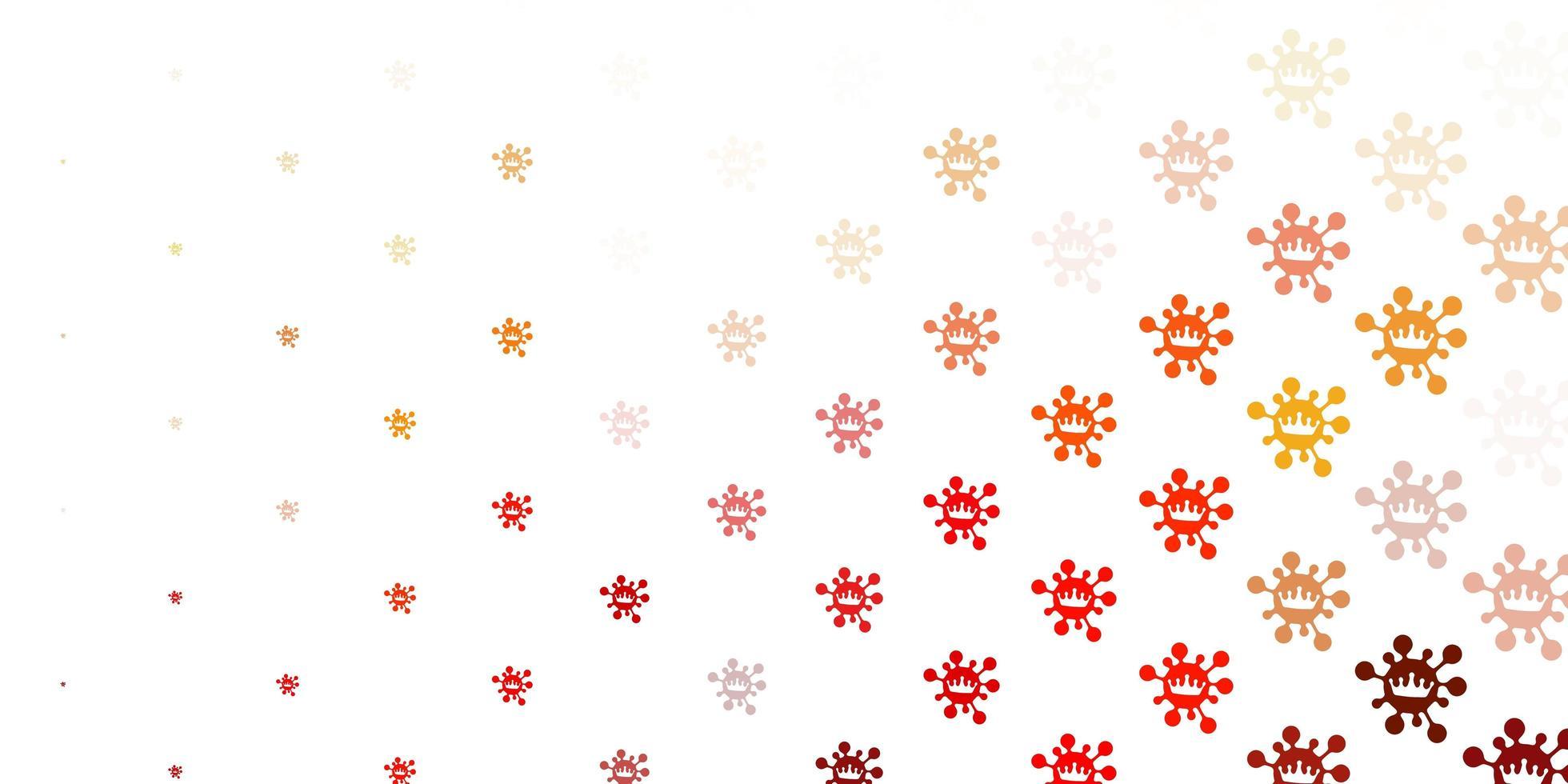 Fondo de vector naranja claro con símbolos covid-19.