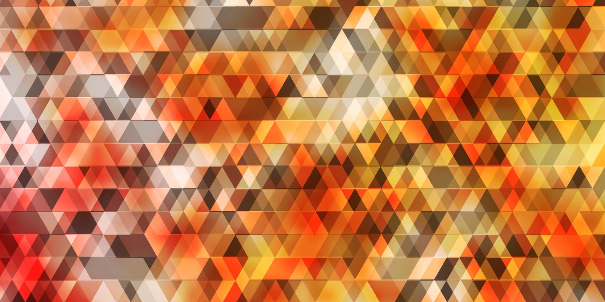 Fondo de vector naranja claro con líneas, triángulos.