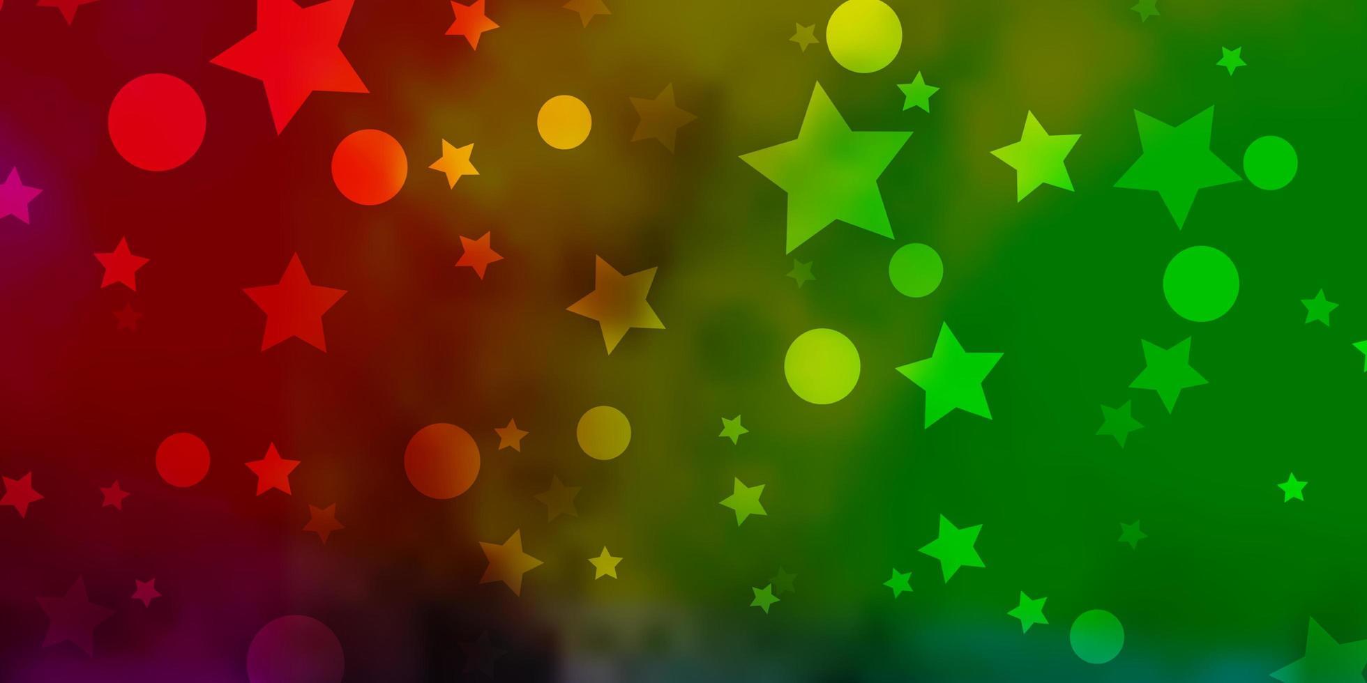 Fondo de vector multicolor claro con círculos, estrellas.
