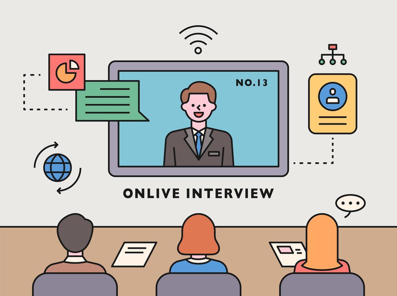 Coronavirus era.  Online interview vector