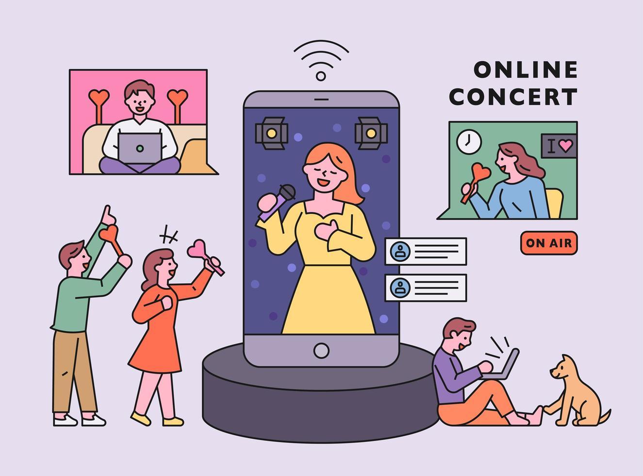 Coronavirus era. Online concert vector