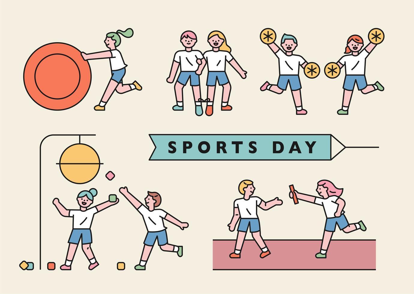 día de deportes escolares vector