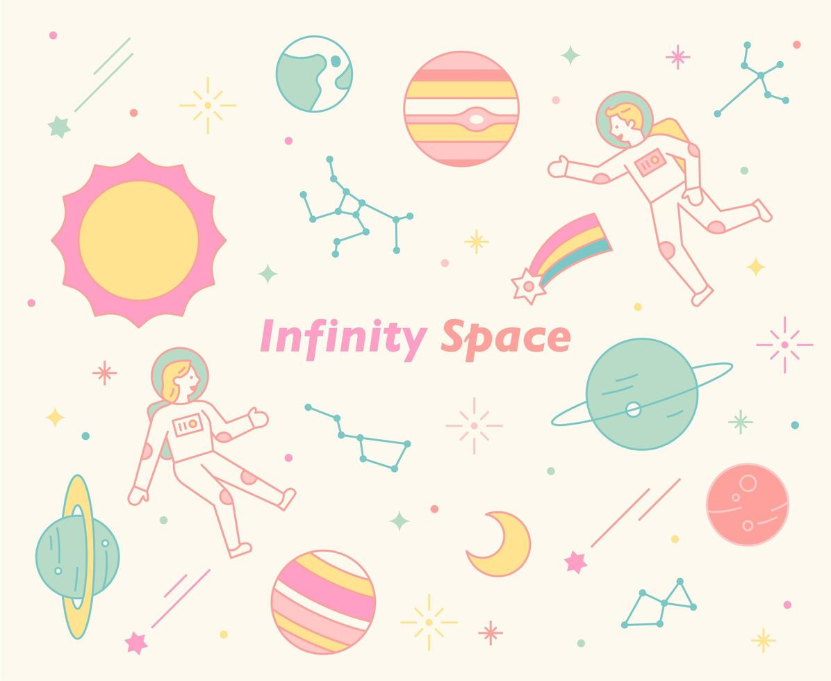 Astronauts swimming in an uneasy universe. vector