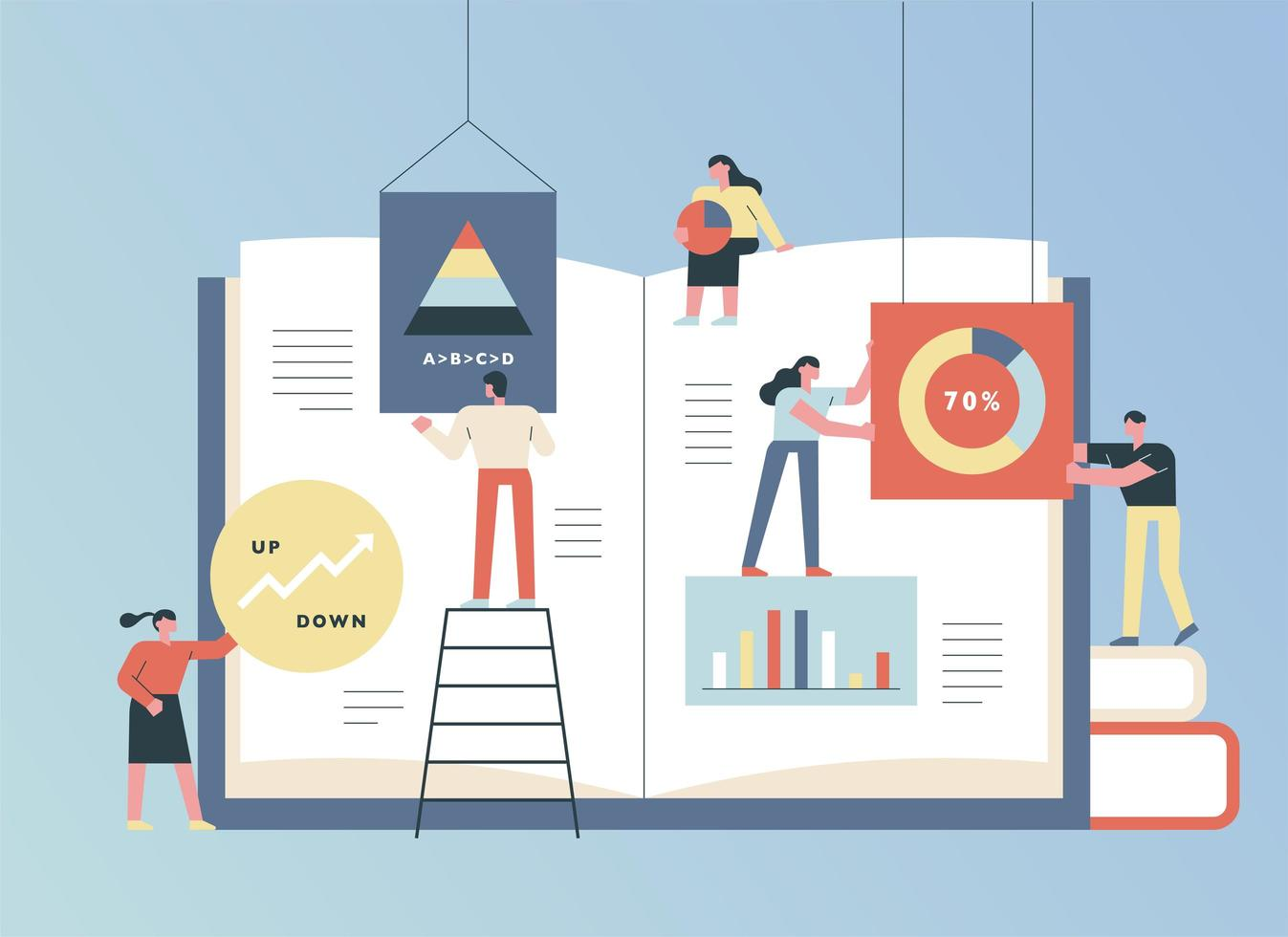 Huge book and business people vector