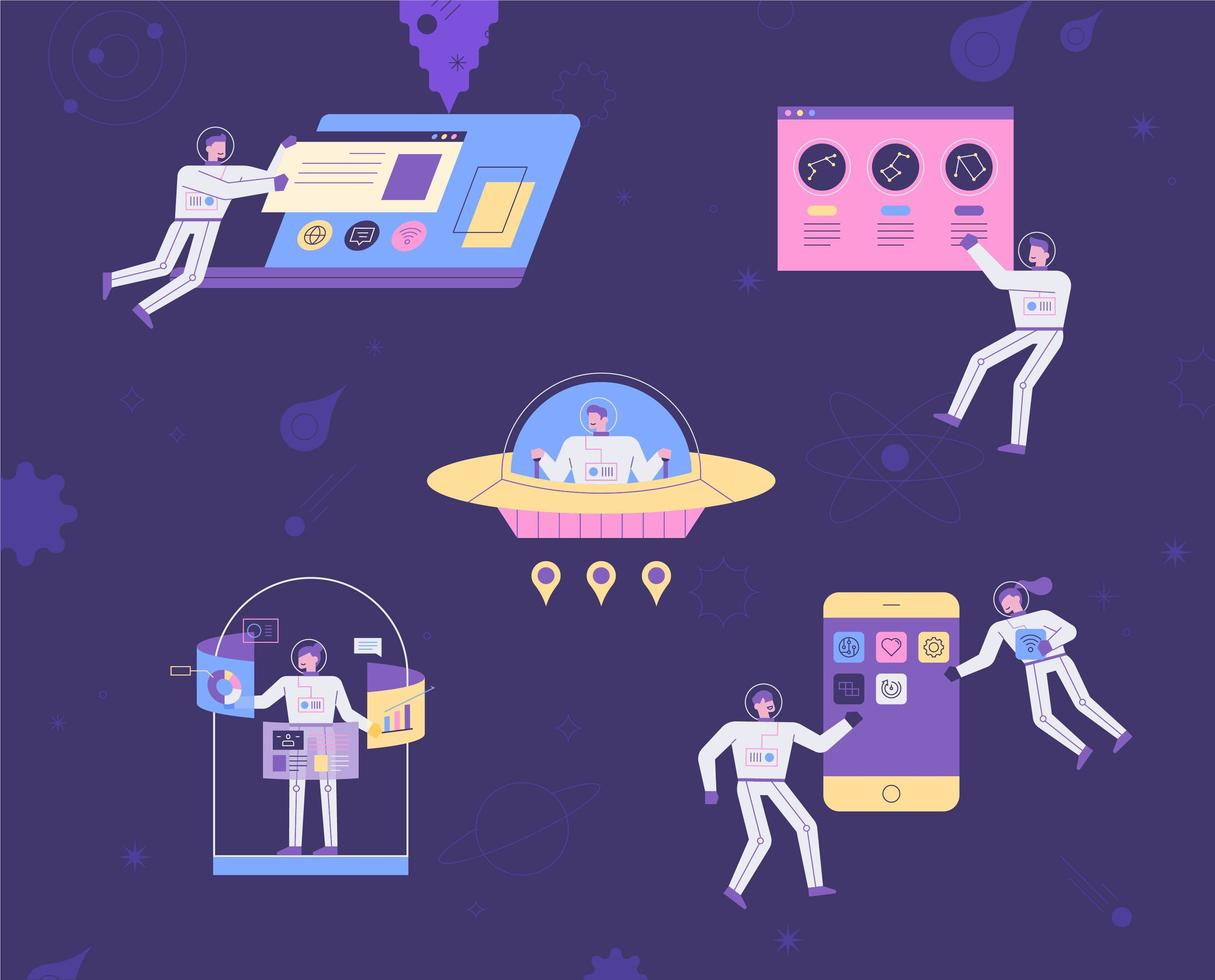 Spaceman characters are operating internet devices. vector