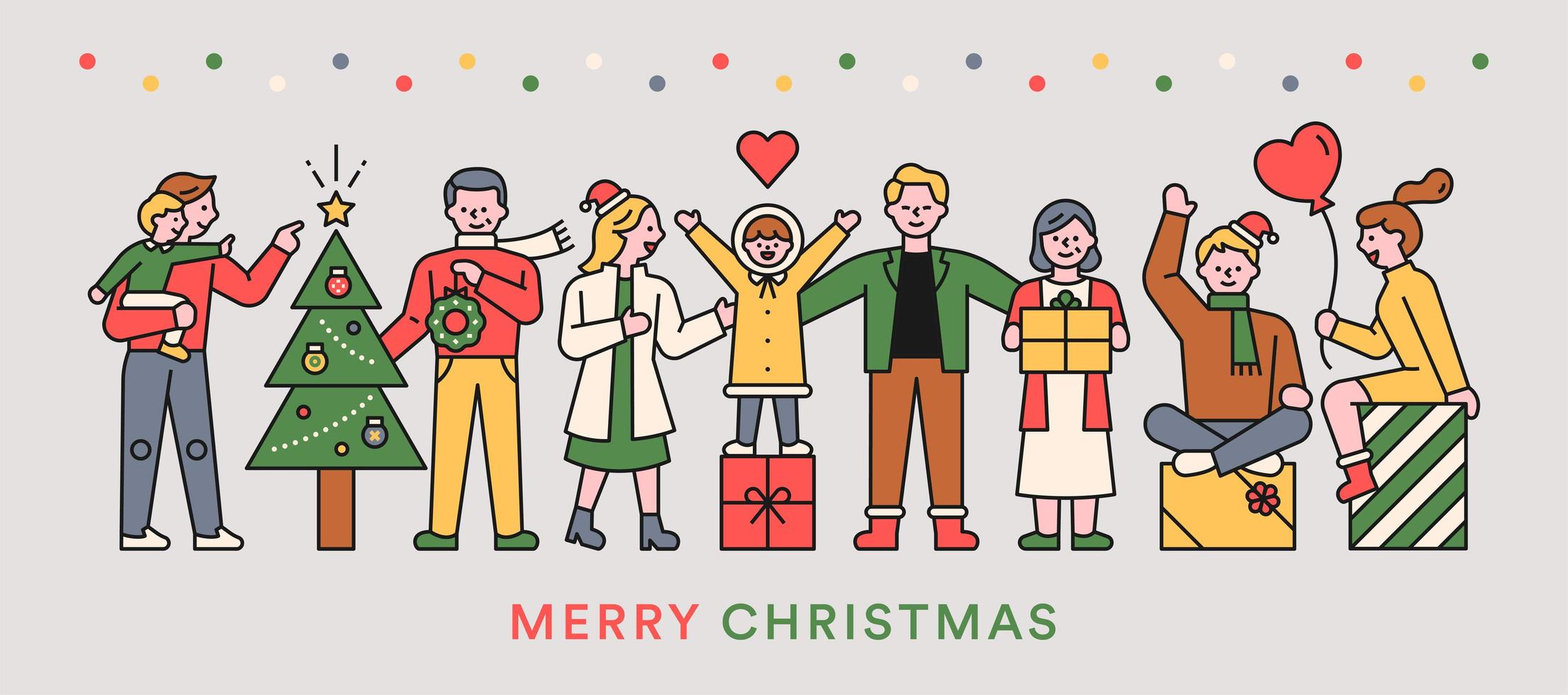 Merry Christmas people vector