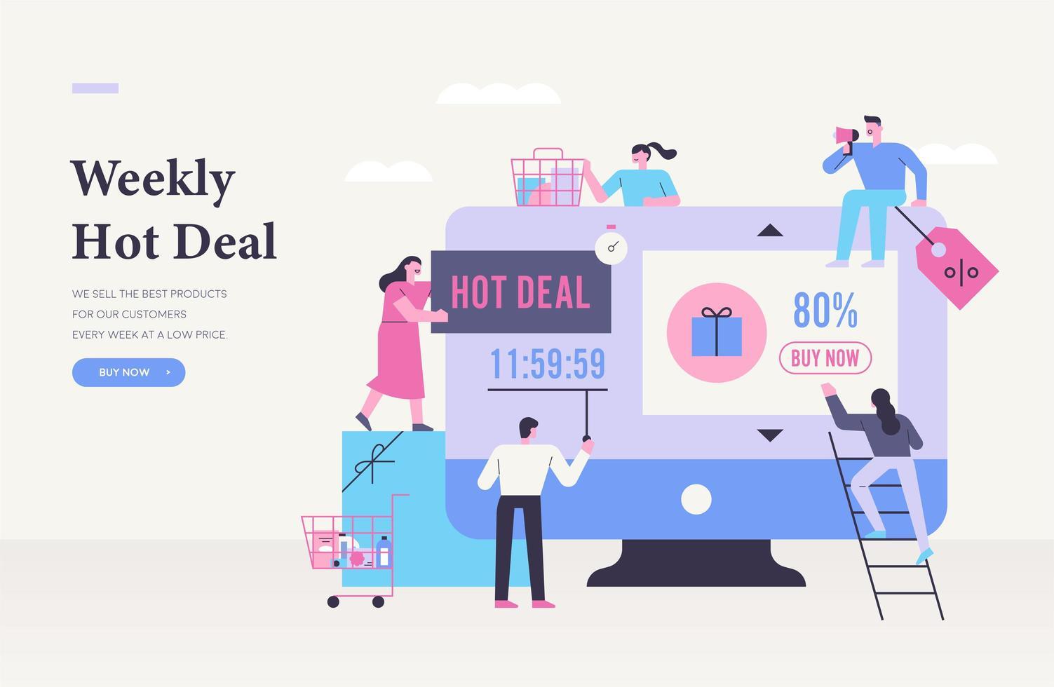 Hot deal shopping poster. vector
