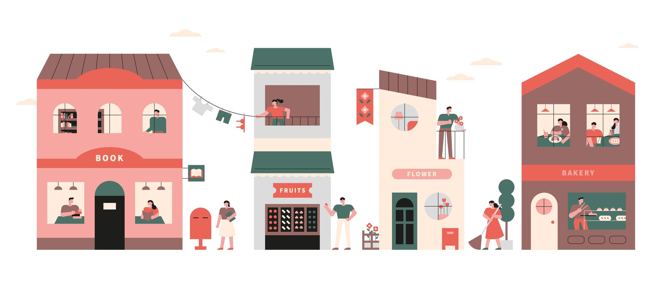 Village and neighbors vector
