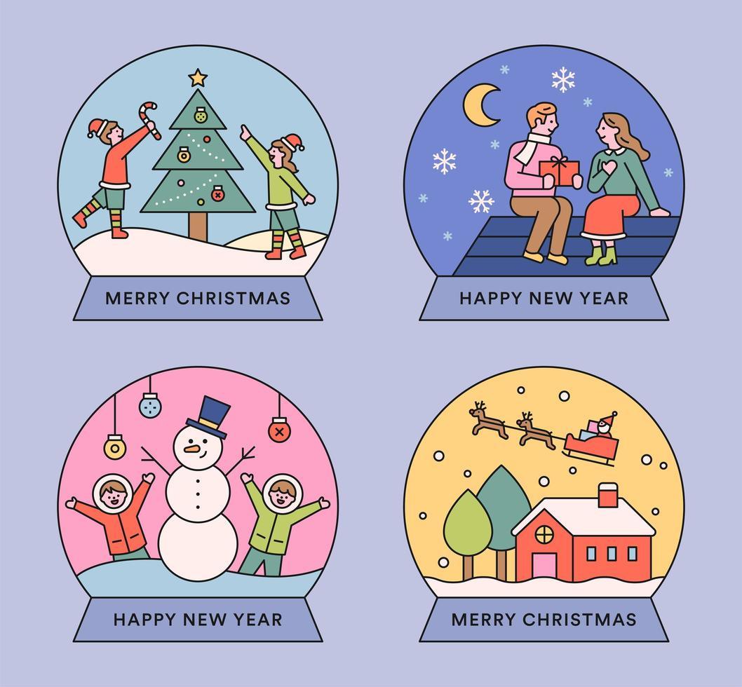 Christmas cute illustration snow globe. vector