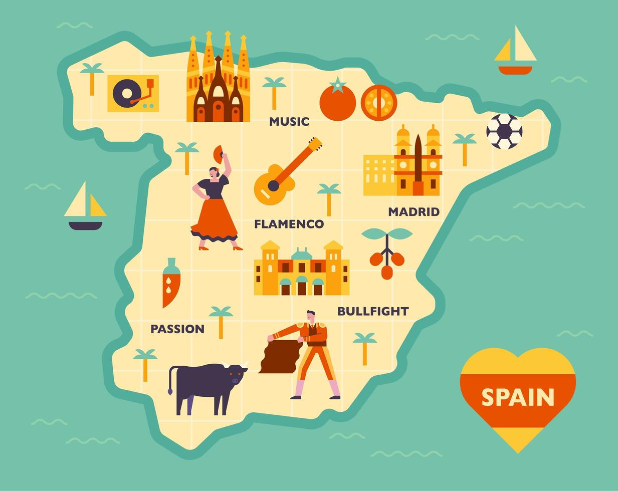 Composition of cultural icons on the Spanish map. vector