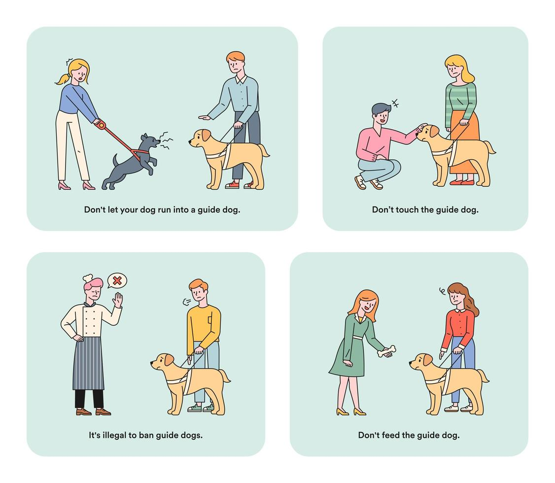 Information illustration for guide dogs for the visually impaired. vector
