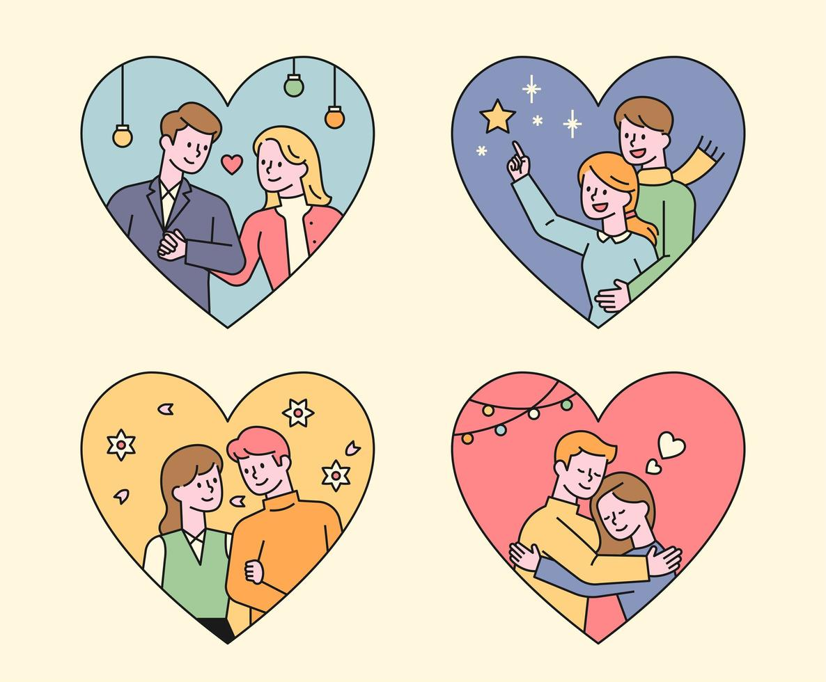 Affectionate couples in a heart-shaped frame. vector