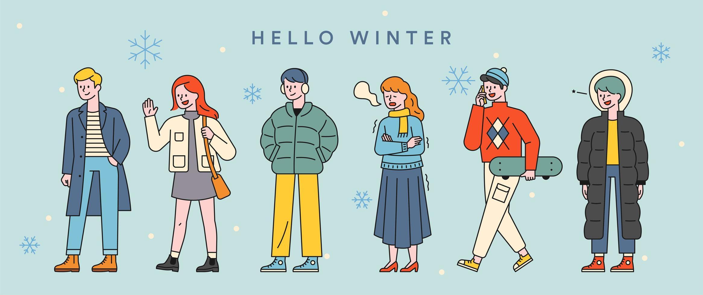 Stylish winter fashion character set. vector