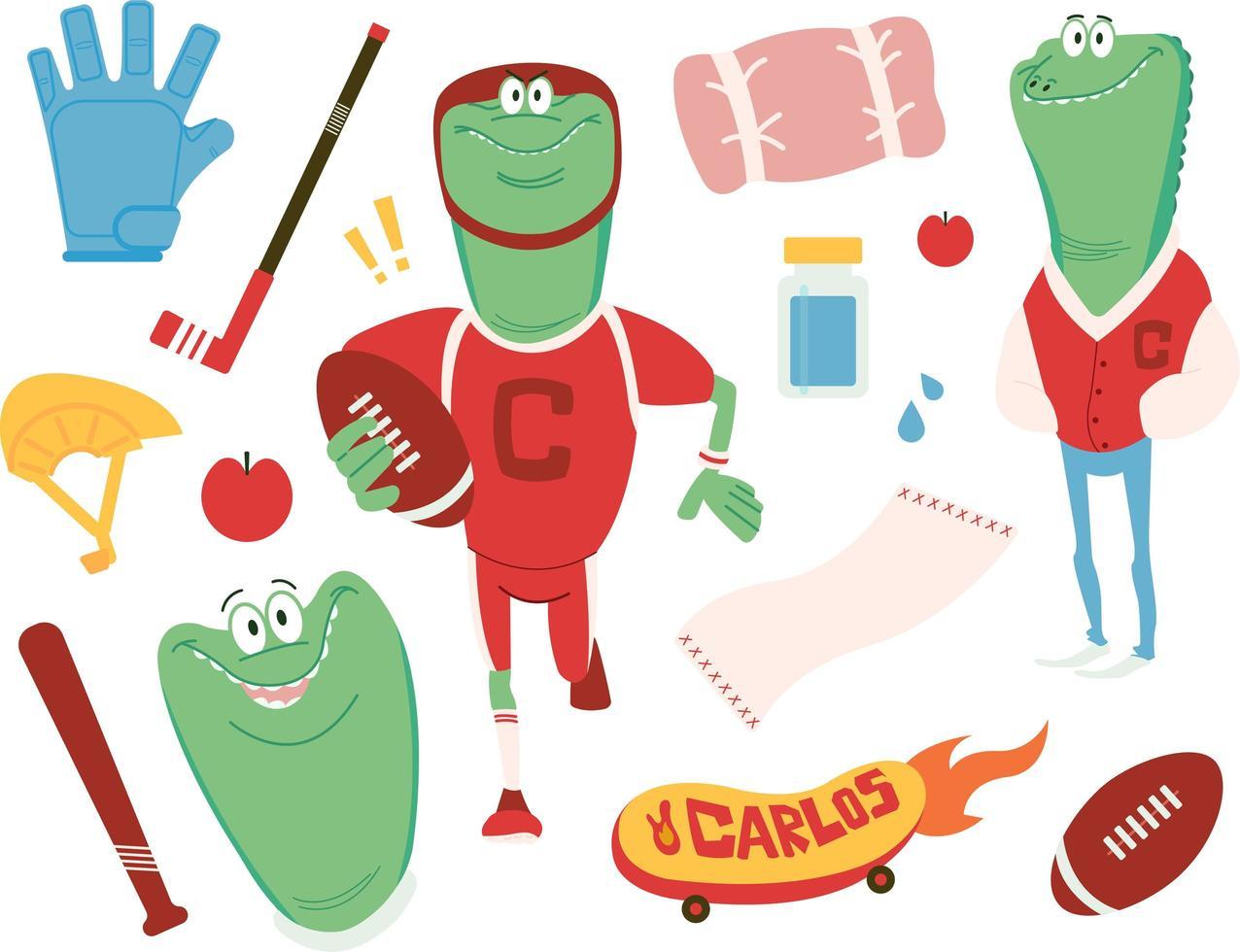 Crocodile boy and sports items vector