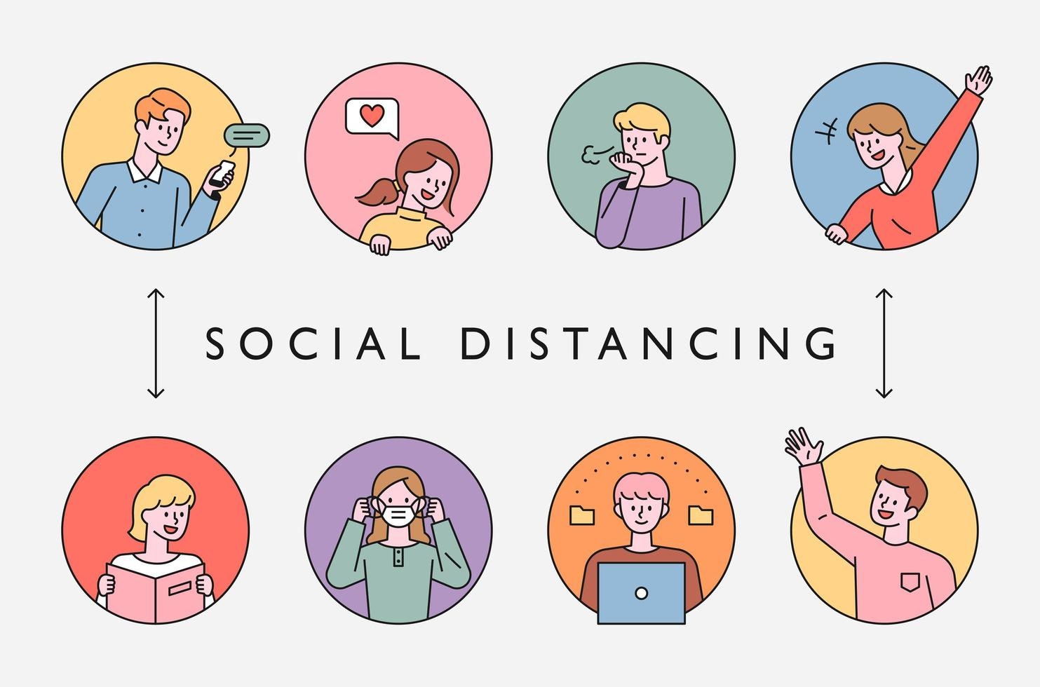 Social distancing in the pandemic era. vector