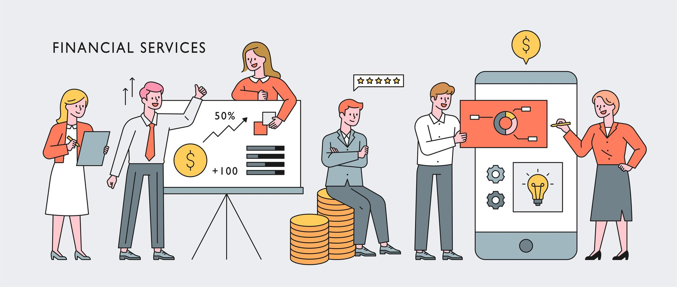Finance professionals character concept banner. vector