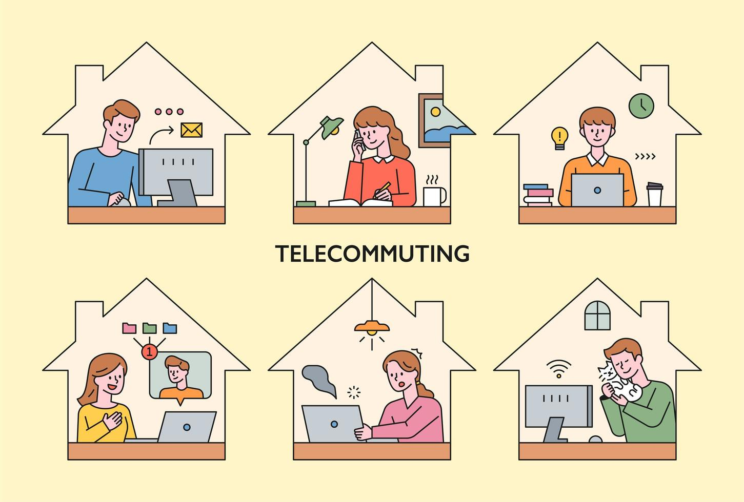 People are working at home by telecom. vector
