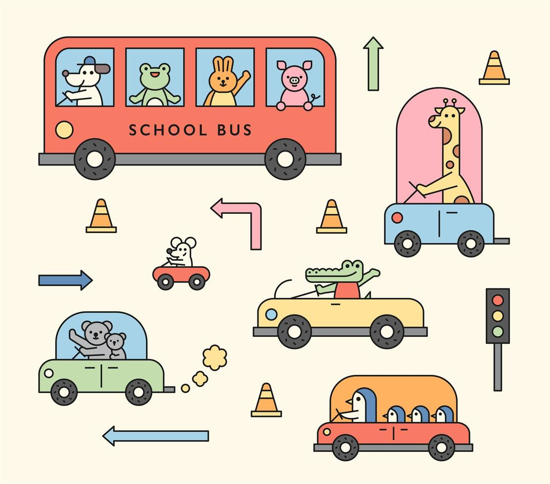 Cute animals are driving cars vector