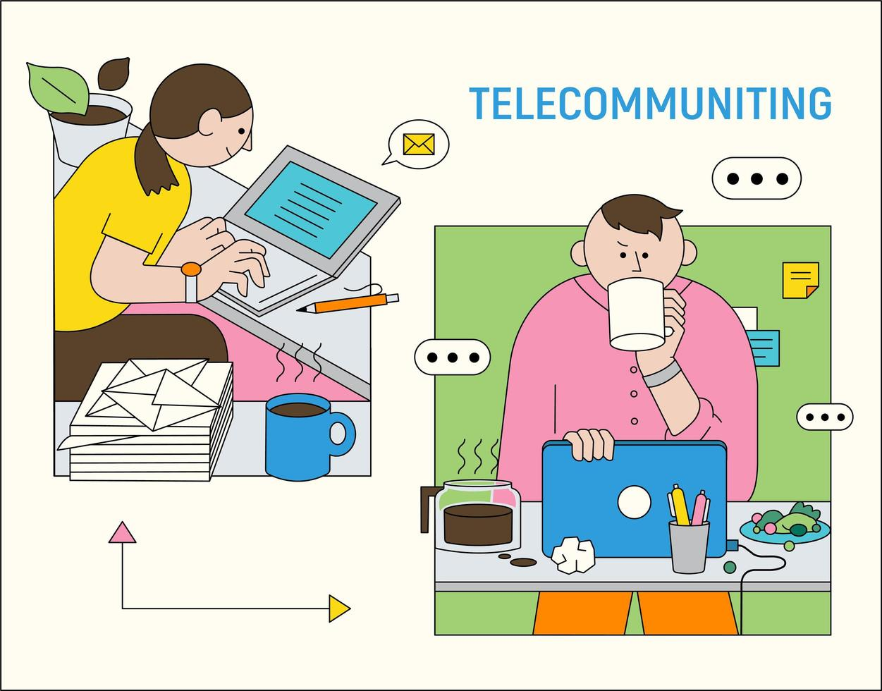 The two are working from home and working together. vector