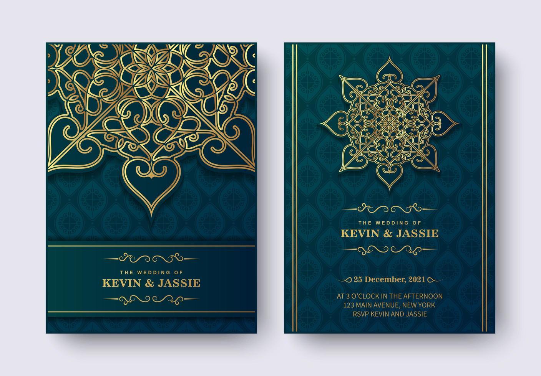 Luxury mandala style wedding invitation set vector