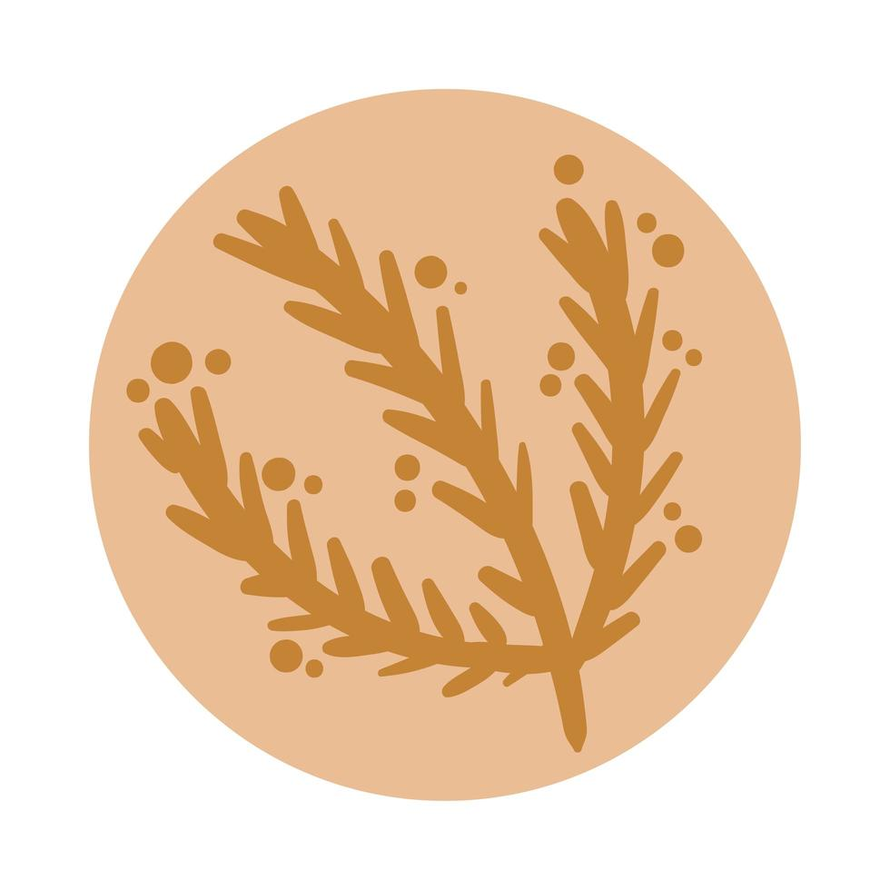 branch with leaves boho hand drawn style vector