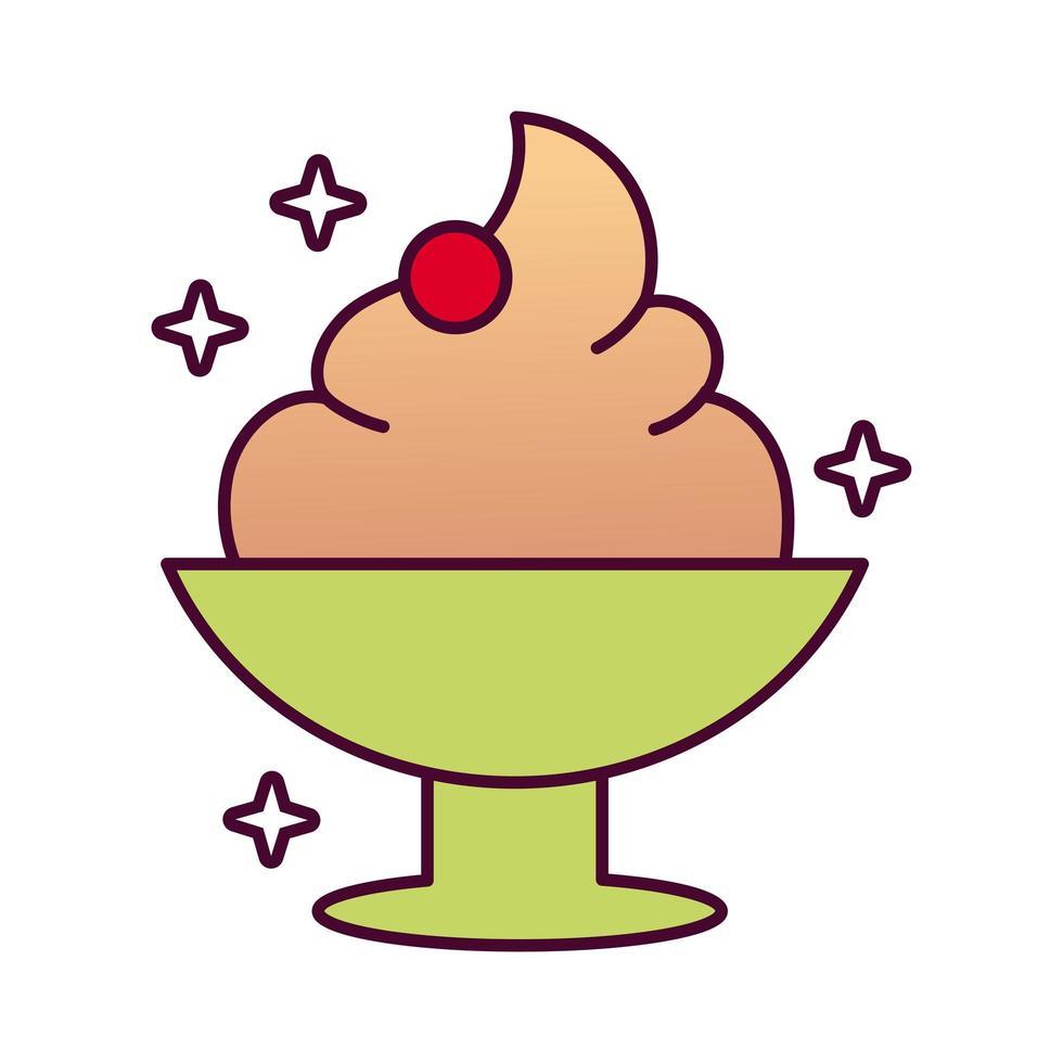 delicioso helado icono de estilo detallado vector