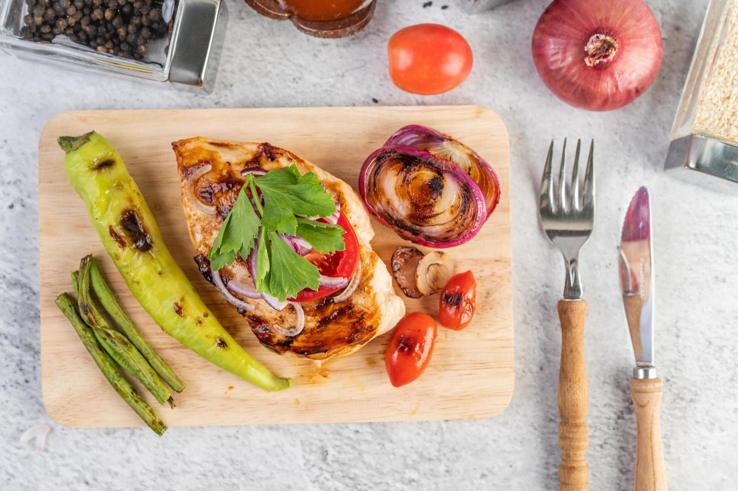 Grilled chicken and vegetables photo