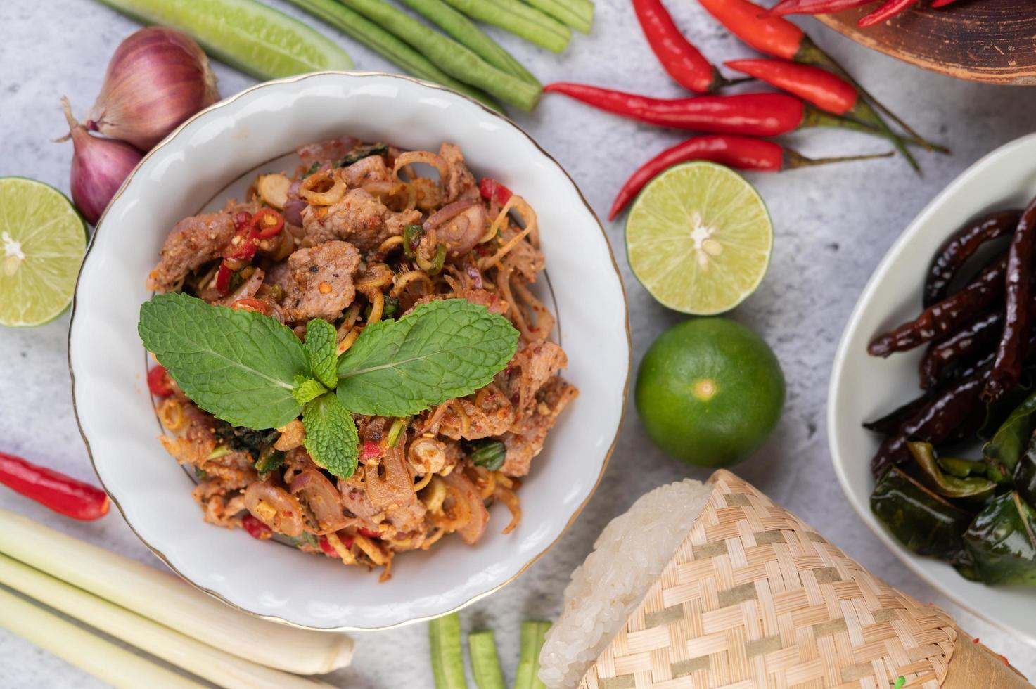 Spicy minced pork dish photo