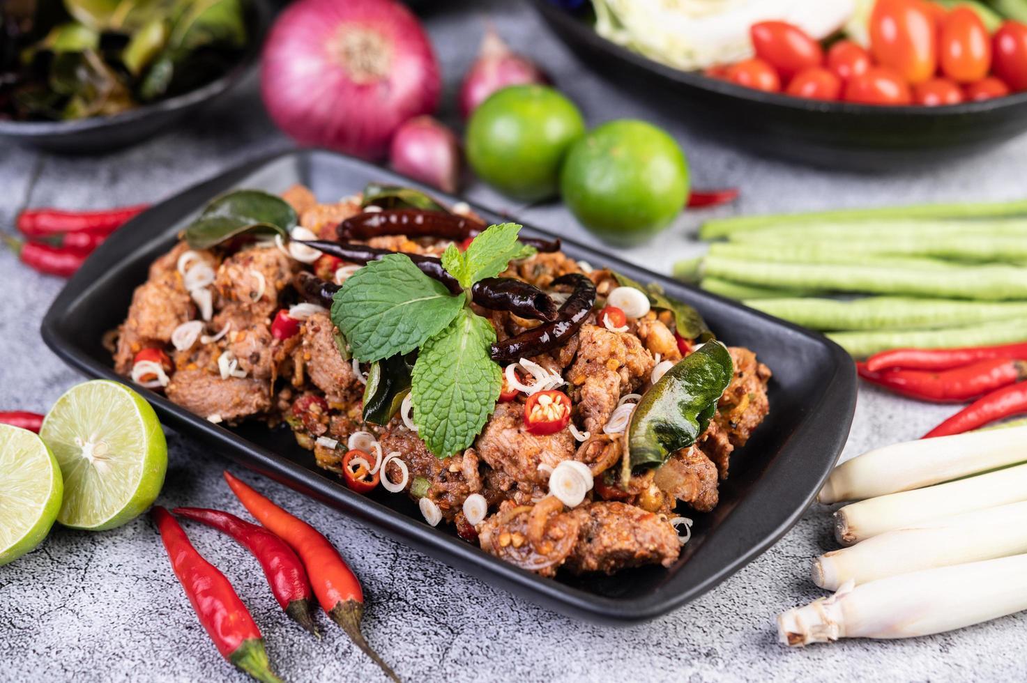 Spicy pork chops photo