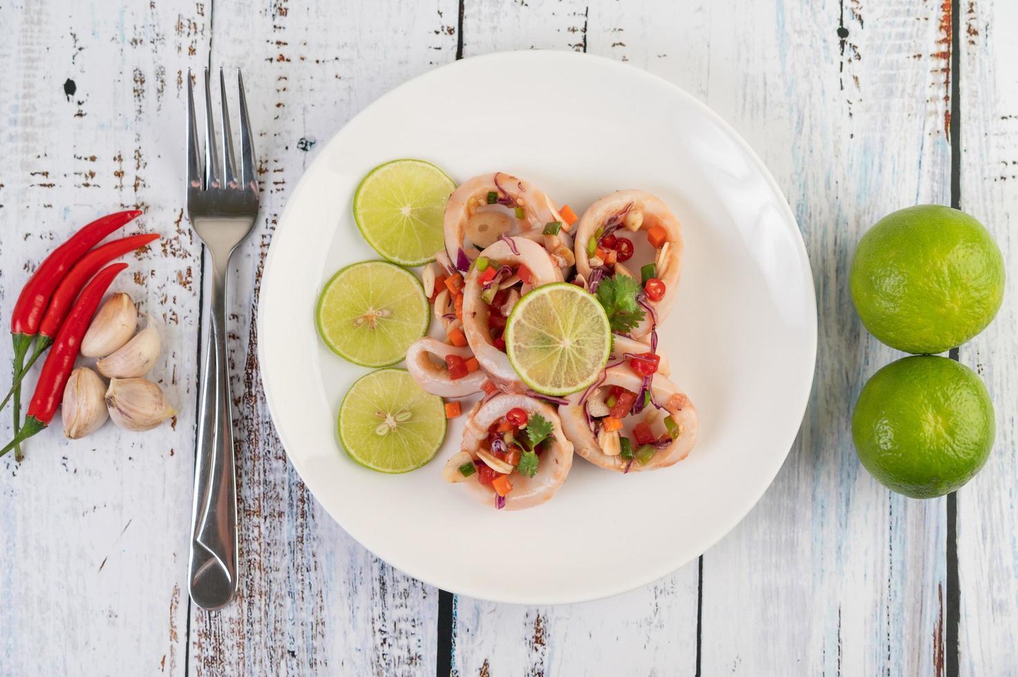 Spicy lemon squid dish photo