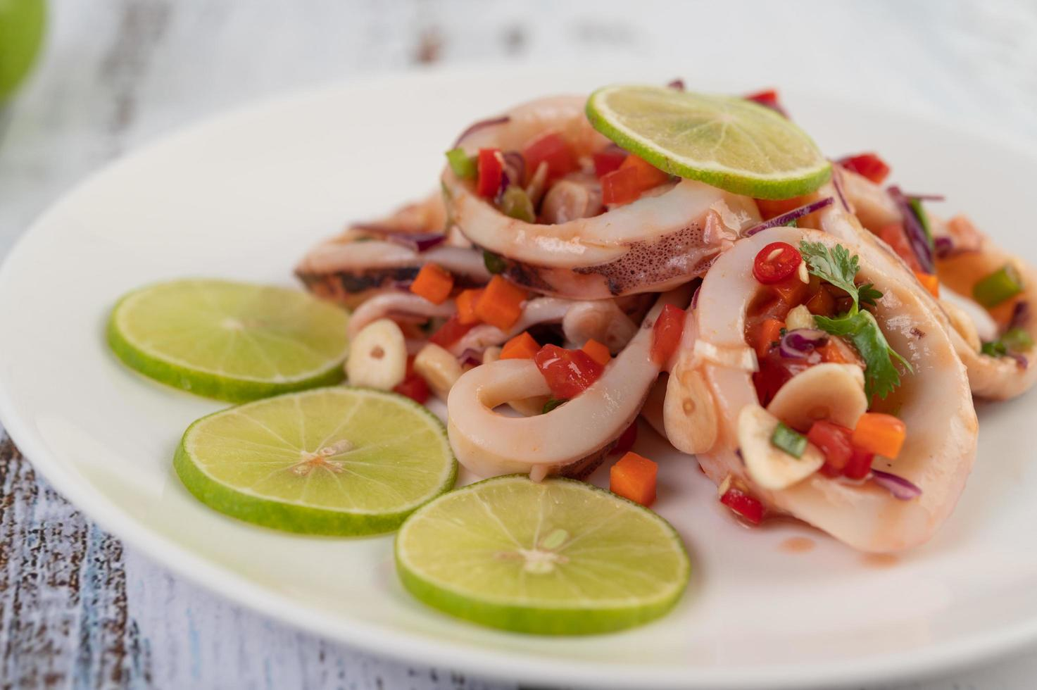 Spicy lemon squid dish photo