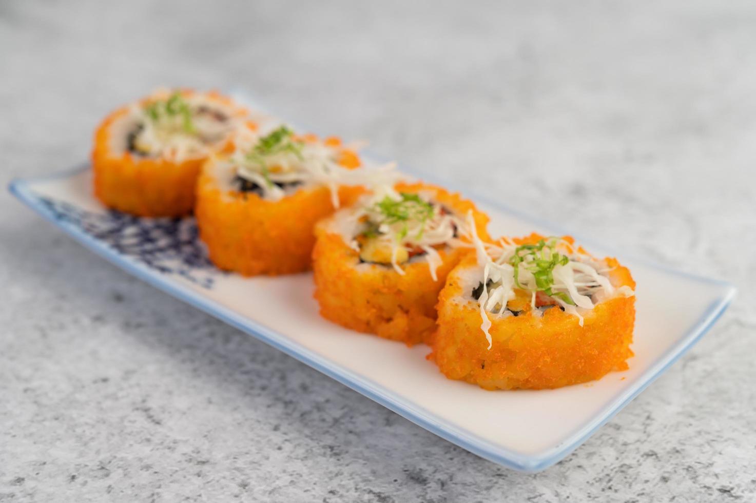 Assorted sushi rolls photo