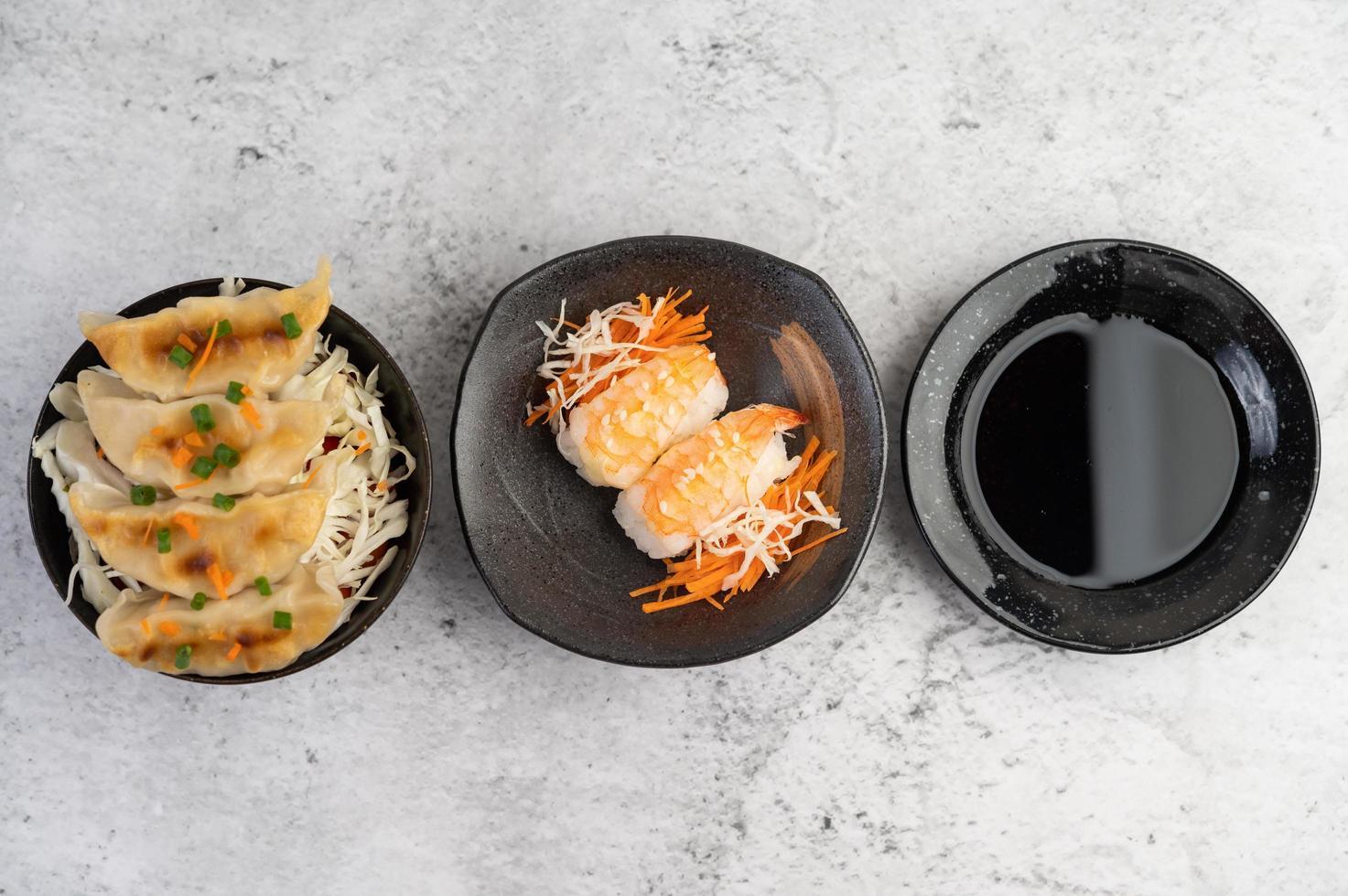 Fresh plated sushi photo