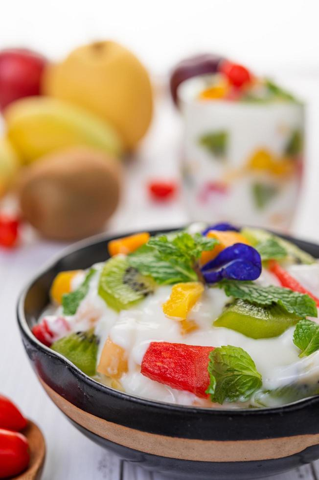 Fresh fruit and yogurt photo