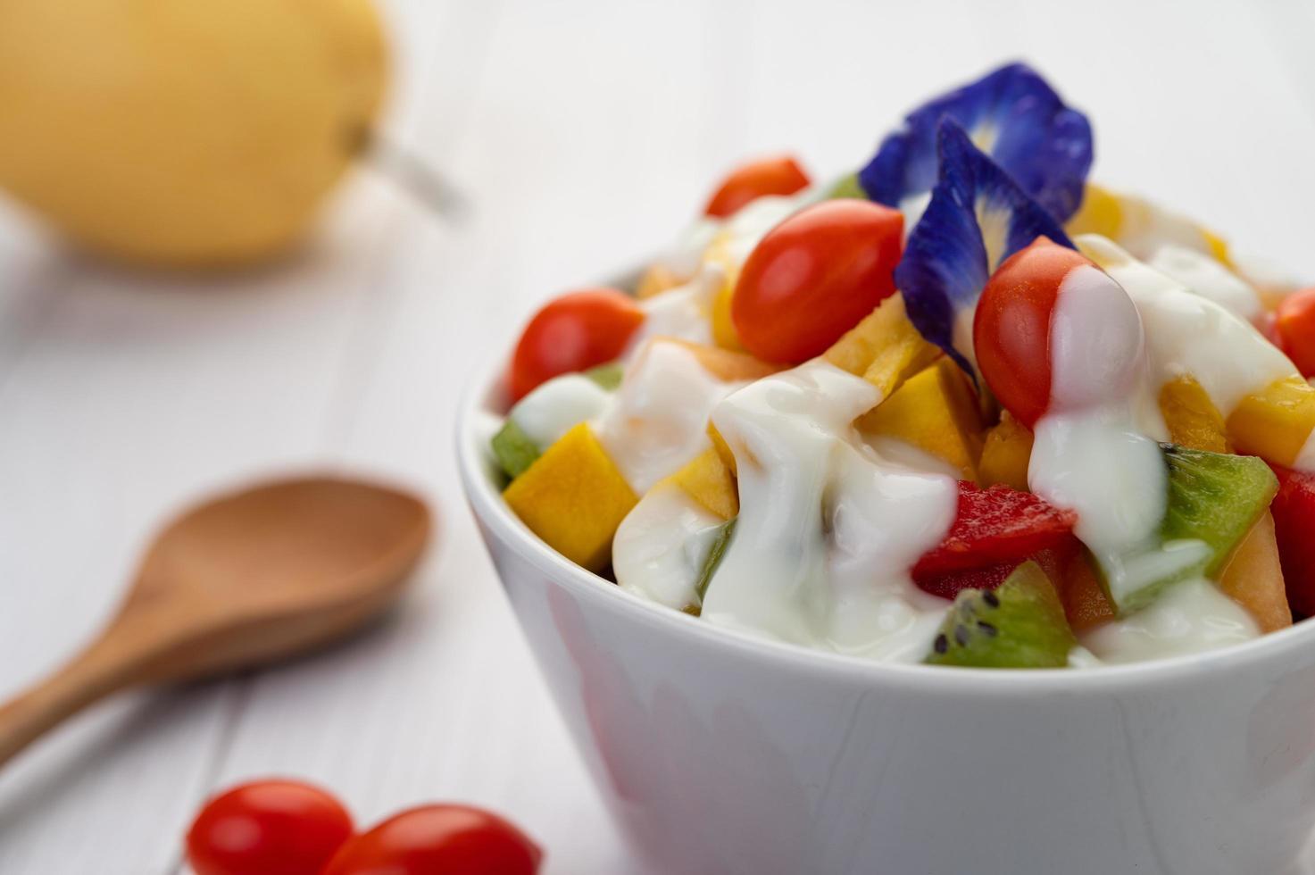 Fresh fruit and yogurt photo