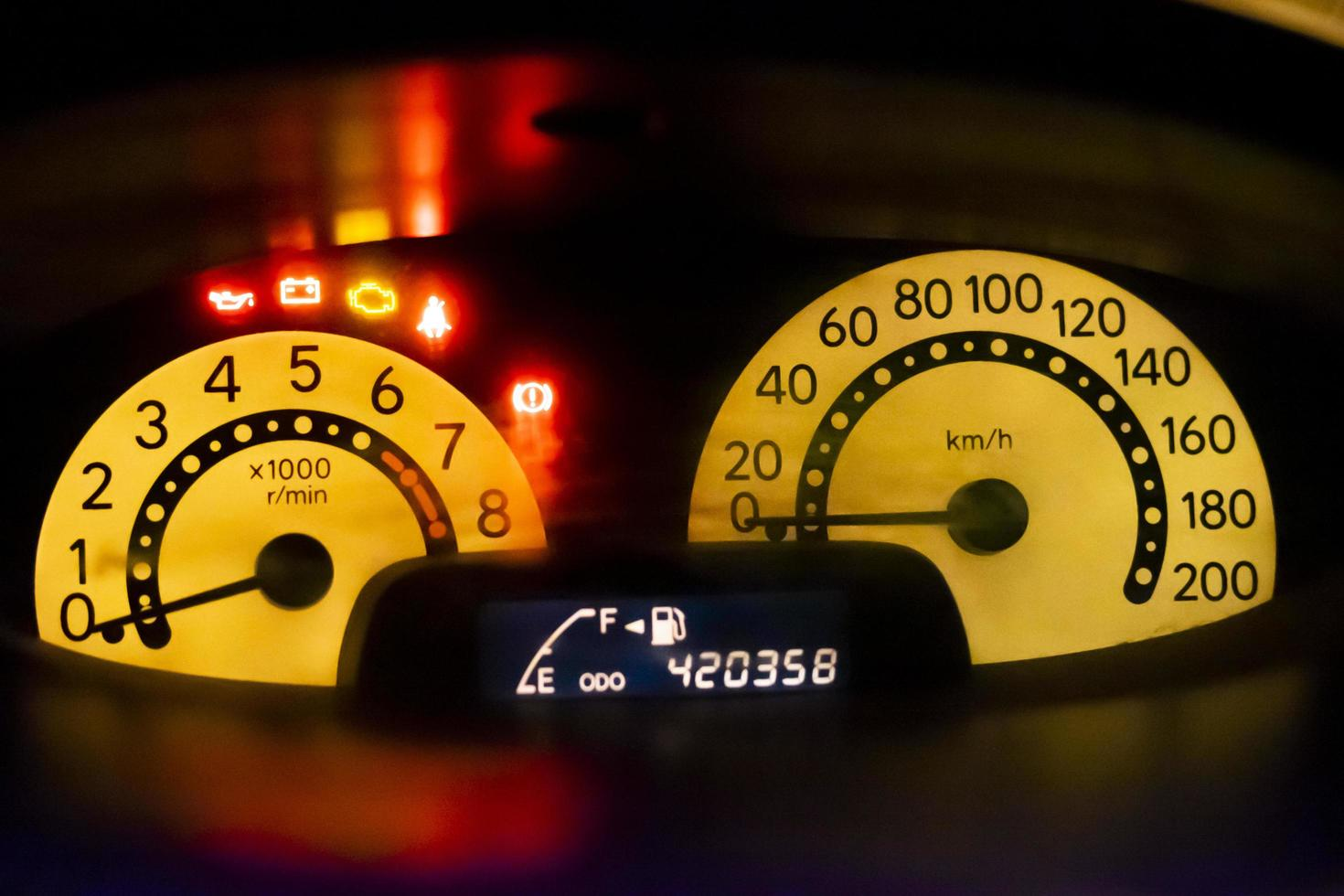 Close-up of a speedometer photo