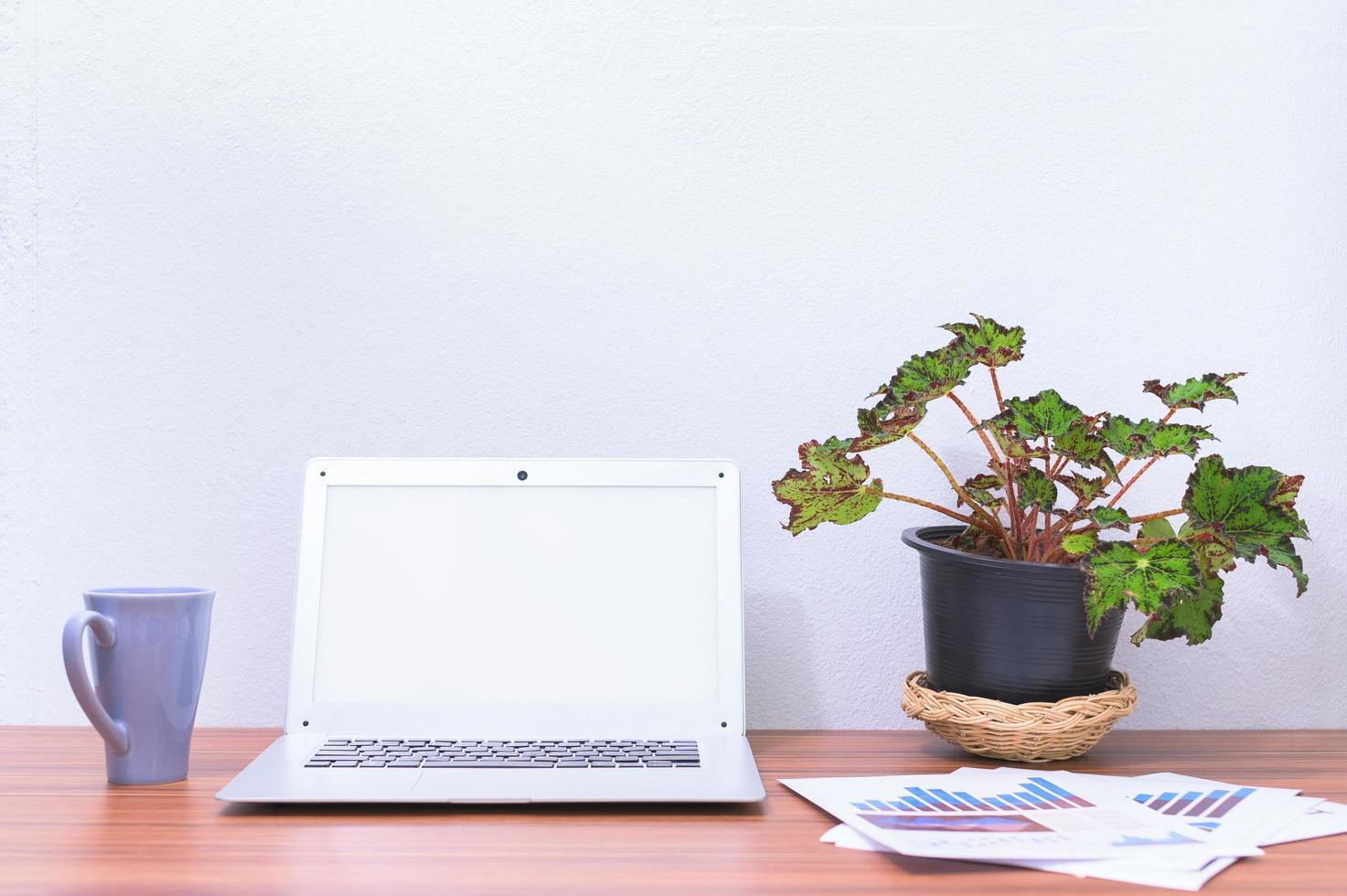 computadora portátil y flor en el escritorio foto