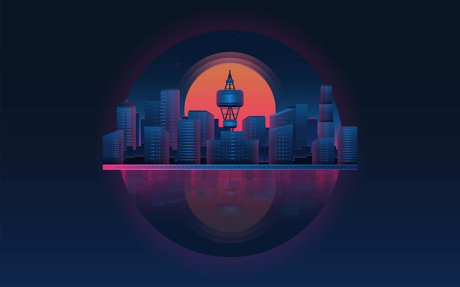 Futuristic city landscape with sunset. Future theme concept background. vector